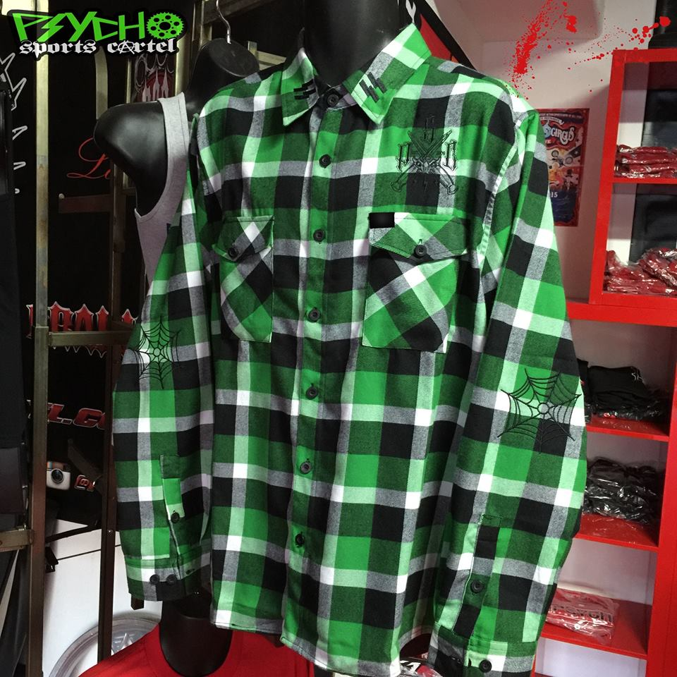 "PSC ""PREMIUM"" EMBROIDERED SS  GREEN DEMON FLANNEL"