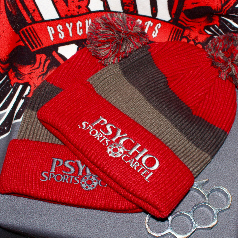 PSC POM TOP BEANIE RED / GREY